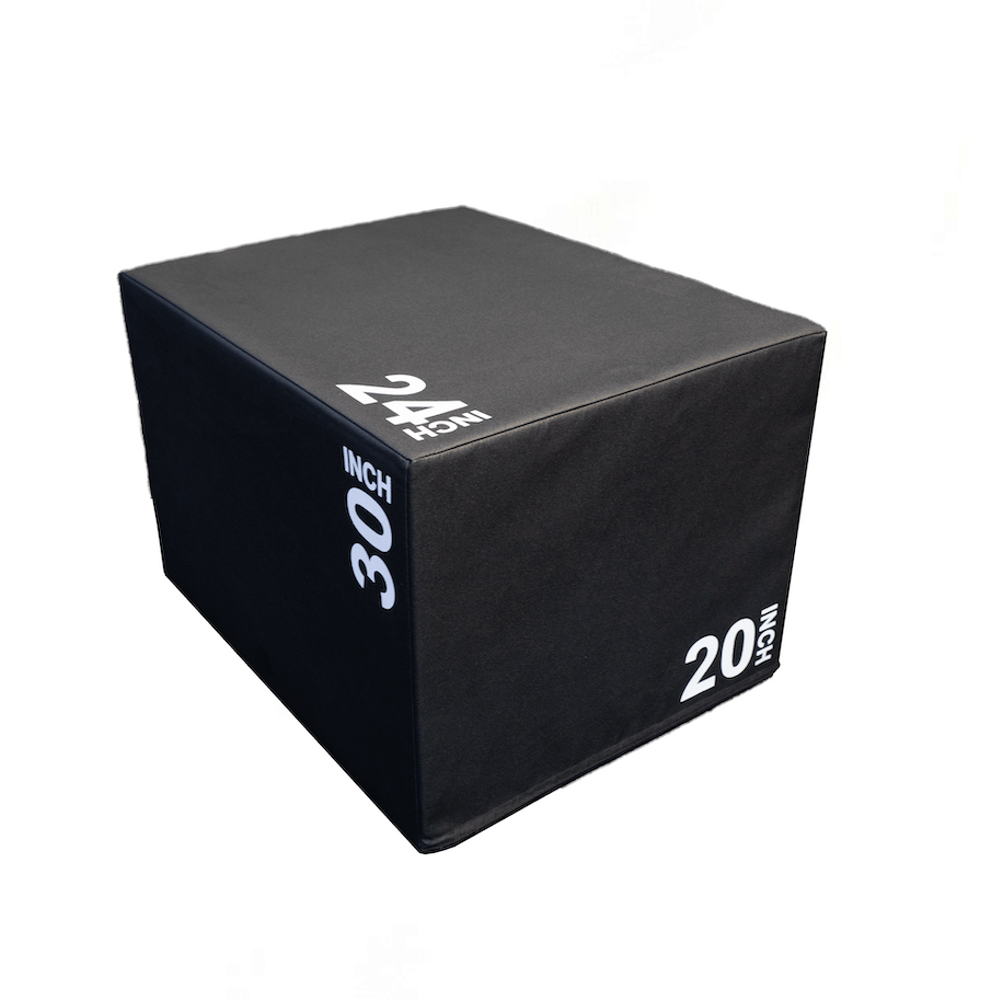 Plyometric box with a soft cover and solid core